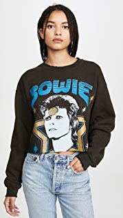 MADEWORN ROCK Bowie 毛边下摆运动衫