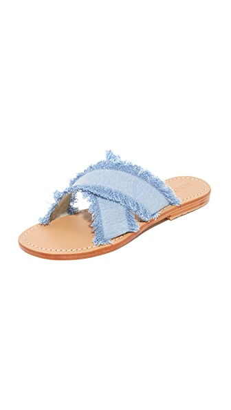 Mystique Crisscross Denim Slides