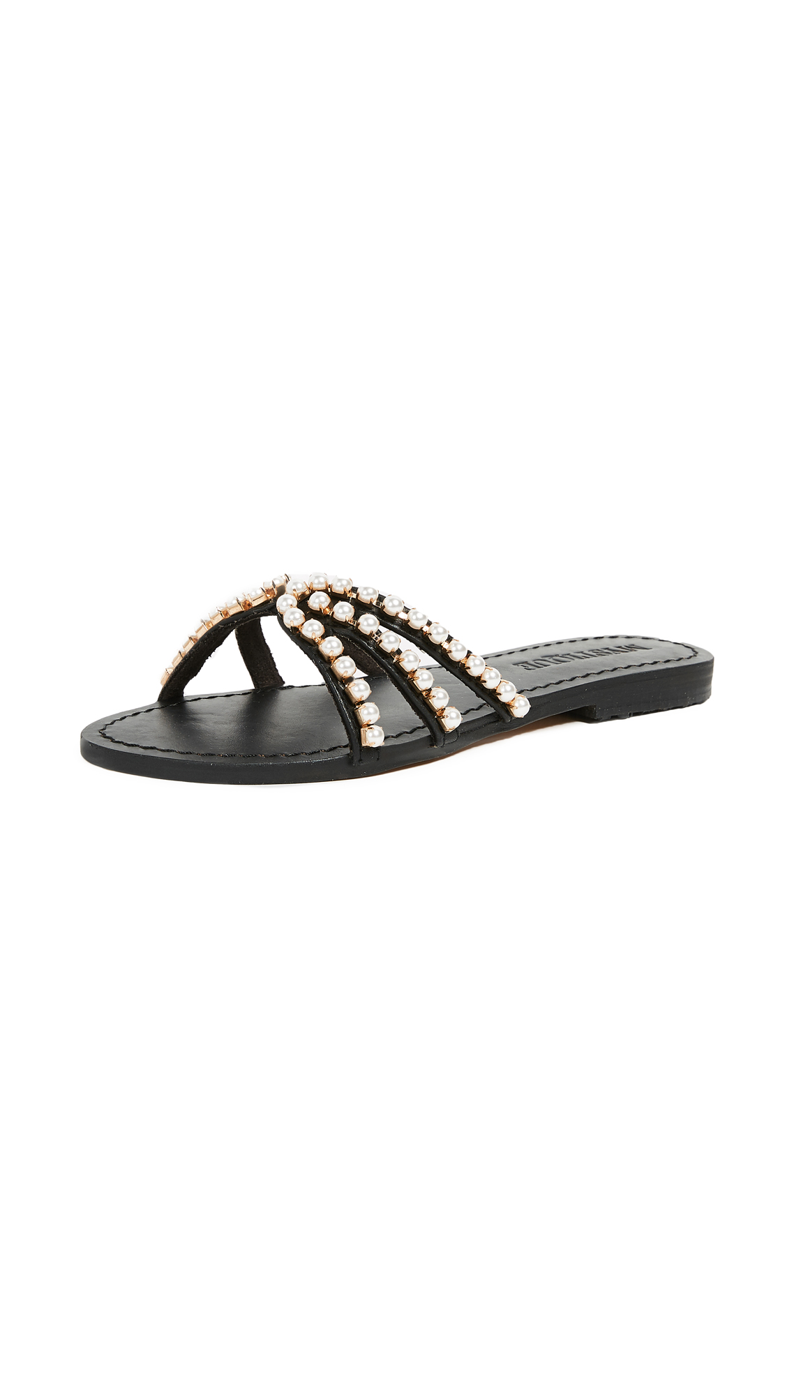 Mystique Imitation Pearl Sandals - Black