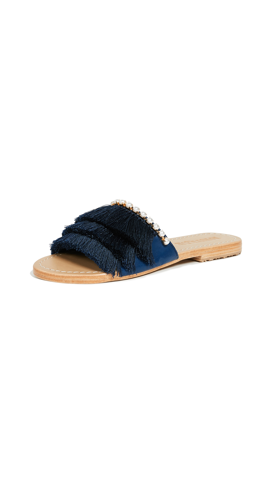Mystique Fringe Slides with Imitation Pearls - Navy