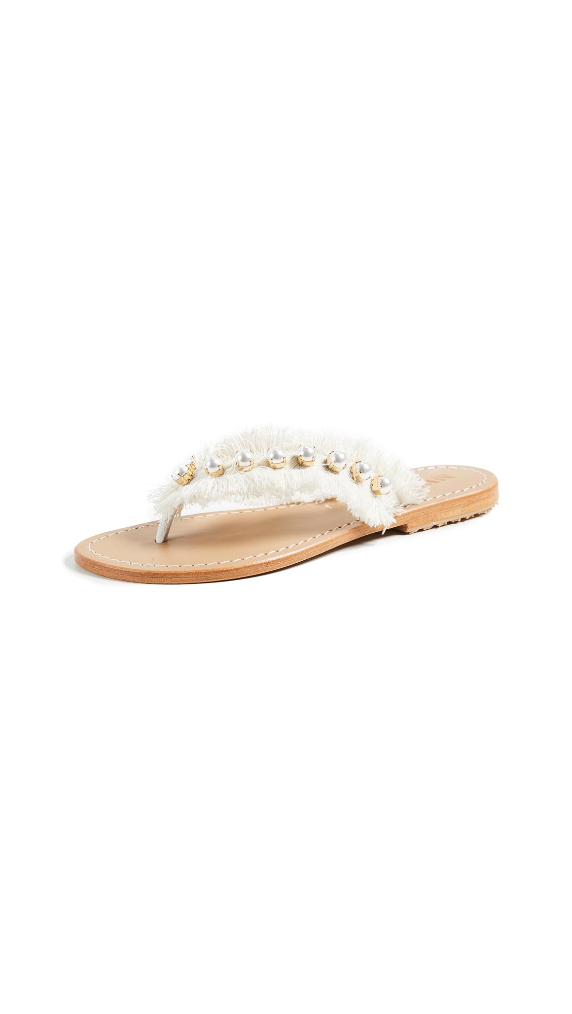 Mystique Imitation Pearl Flip Flops - White