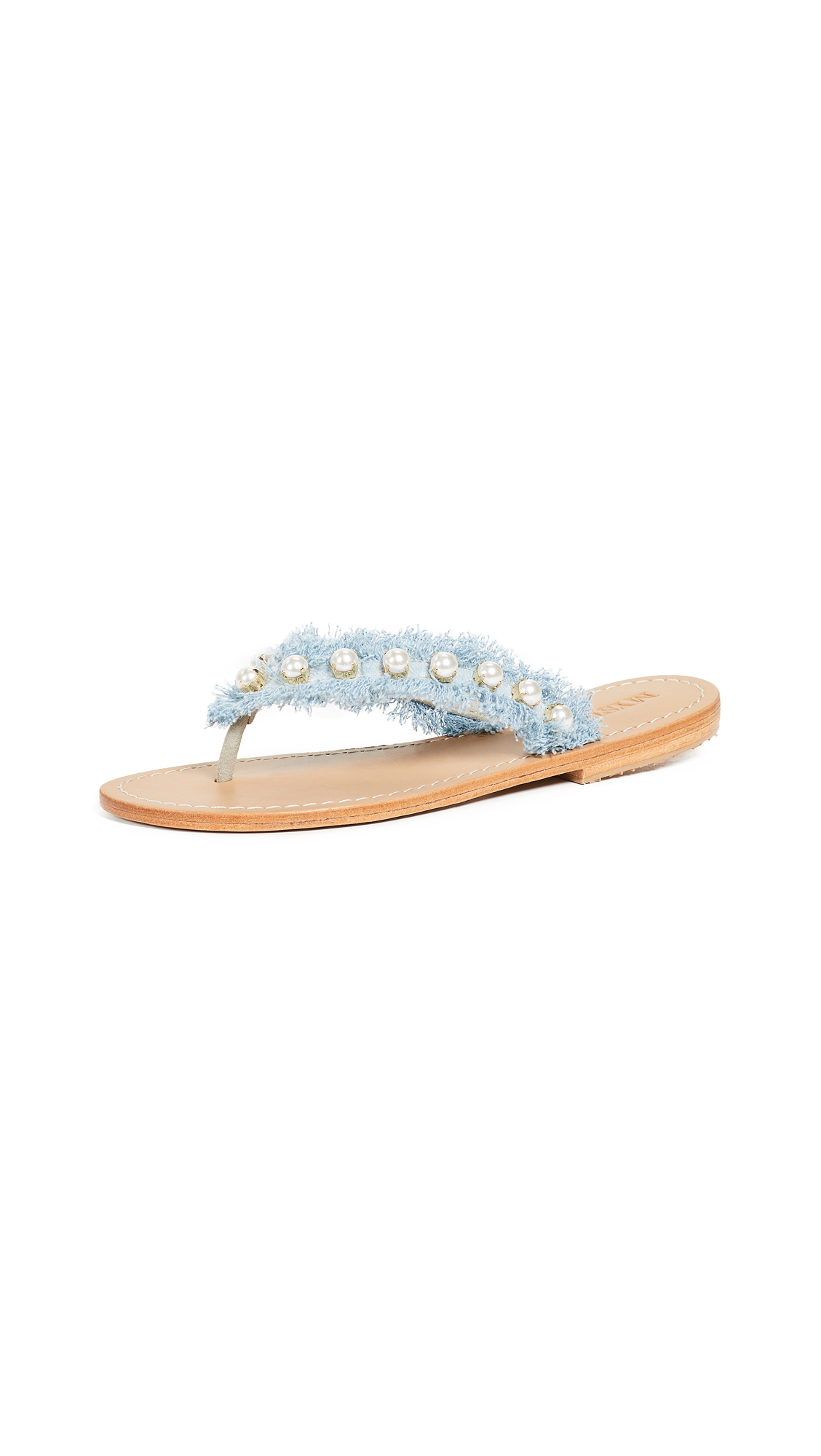 Mystique Imitation Pearl Flip Flops - Denim