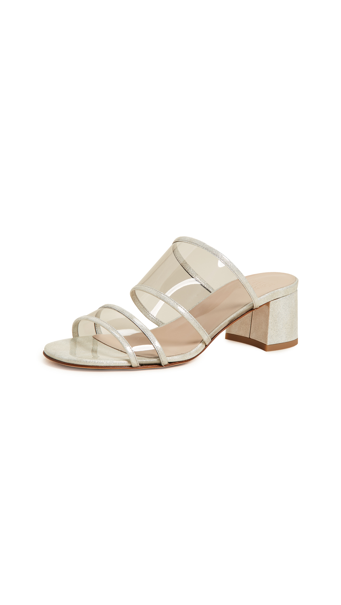 Maryam Nassir Zadeh Martina Clear Slides - Silver Sparkle/Grey