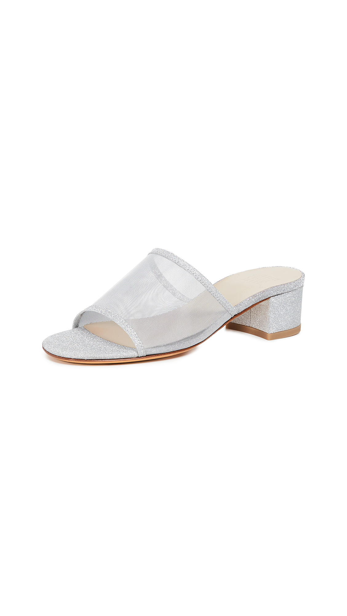 Maryam Nassir Zadeh Sophie Mesh Sandals - Silver Sparkle