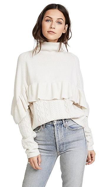 Naadam Ruffle Mock Neck Cable Pullover