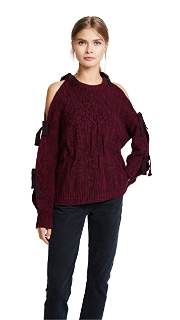 Naadam Cold Shoulder Cable Knit Sweater