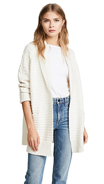 Naadam Cable Knit Cardigan In White
