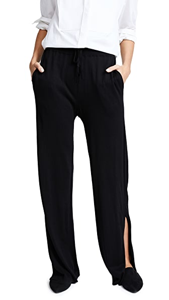 Naadam Wide Leg Knit Pants with Slits In Black