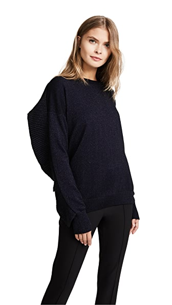 Naadam Ruffle Crew Neck Sweater In Black/Navy