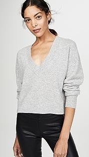 Naadam Укороченный кашемировый свитер с глубоким V-образным вырезом