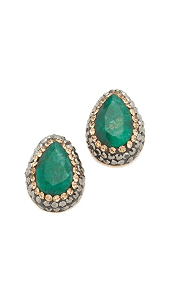 Native Gem Everyday Stud Earrings - Gold/Emerald