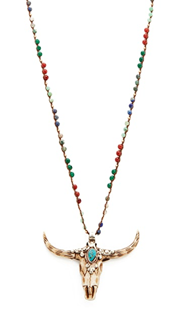 Native Gem Chakra Treasure Longhorn Necklace