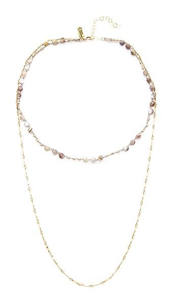 Native Gem Waverly Drape Necklace - Botswana Agate Mix