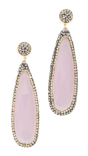 Native Gem Rose Quartz Everything Earrings - Rose Quartz/Yellow Gold