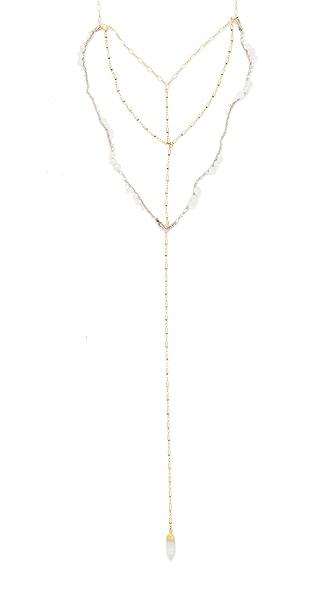 Native Gem Sparrow Drape Necklace In Rainbow/Moonstone