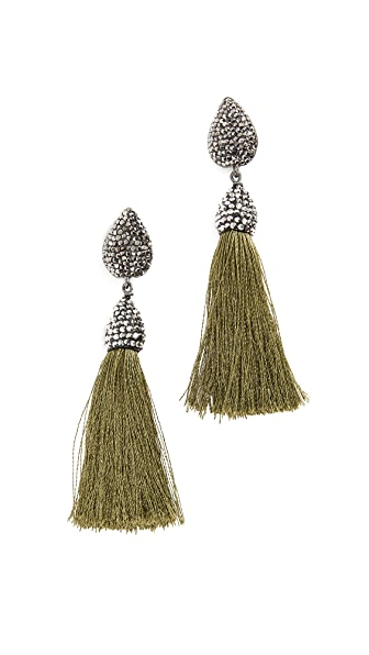 Native Gem Rocco Tassel Earrings In Khaki