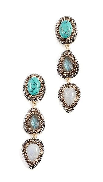 Native Gem Barbados Earrings In Turquoise & Pearl