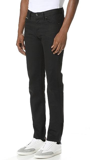 Naked & Famous Super Skinny Guy Solid Black Selvedge Jeans