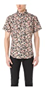 Naked & Famous Flower Print Short Sleeve Shirt
