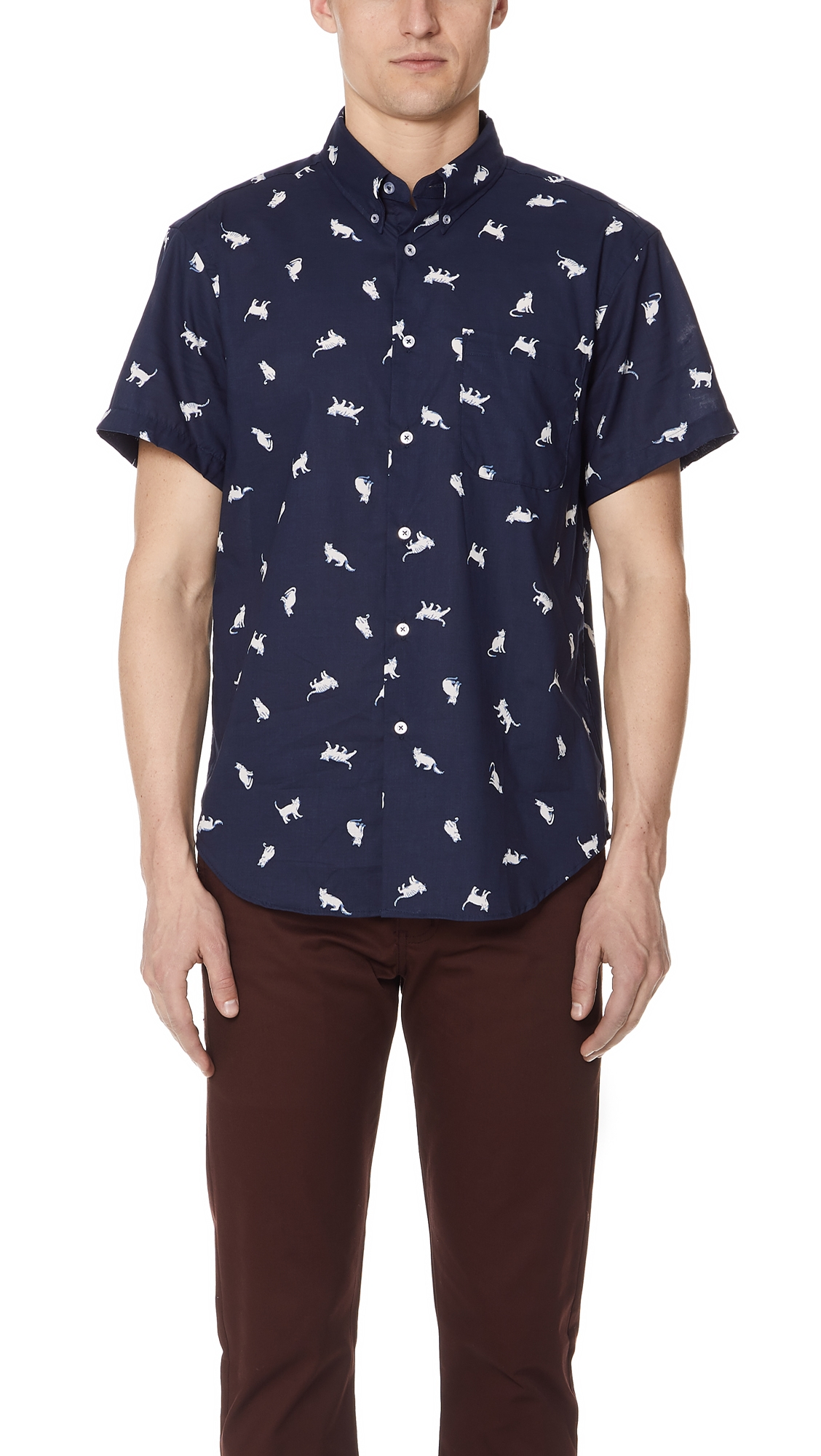 NAKED & FAMOUS CATS SHIRT