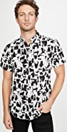 Naked & Famous Funny Cats Short Sleeve Easy Shirt