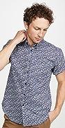 Naked & Famous Indigo Romantic Flowers Short Sleeve Easy Shirt