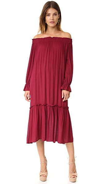 Re:Named Off Shoulder Midi Dress - Berry