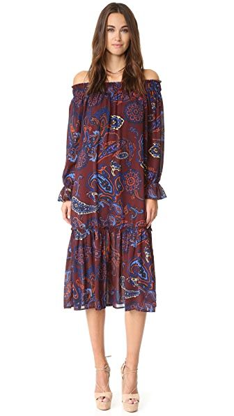 Re:Named Paisley Off Shoulder Dress - Mahogany