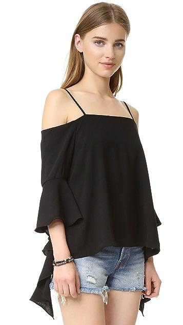 re:named Cascade Sleeve Cold Shoulder Top