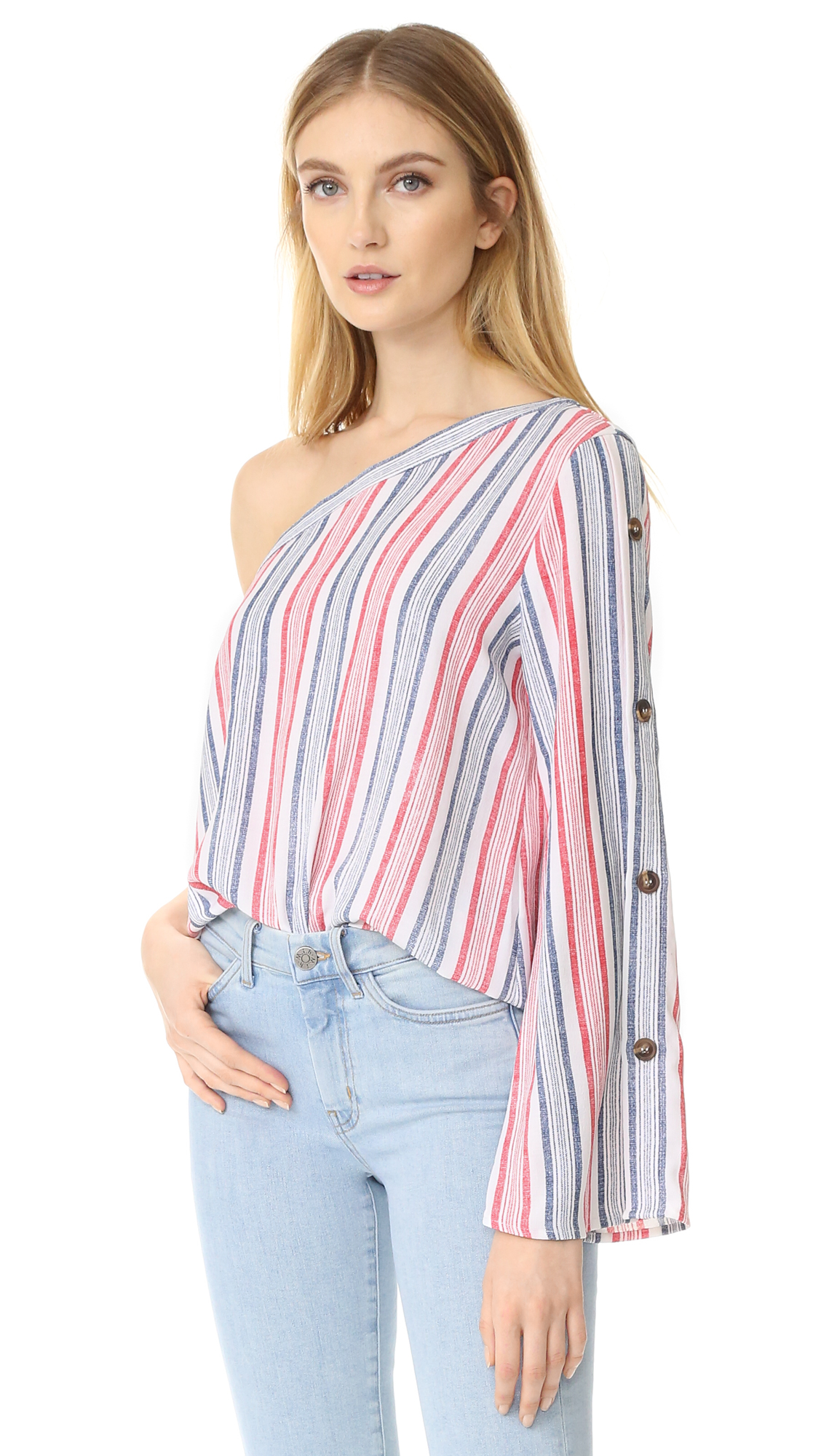 re: named One Shoulder Blouse - White/Red