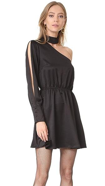 re:named One Shoulder Mock Neck Dress - Black