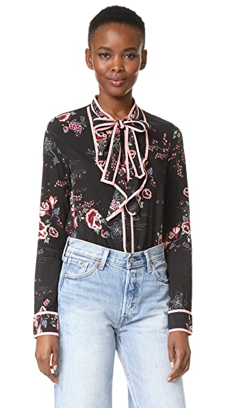 re: named Floral Tie Neck Blouse In Black Multi