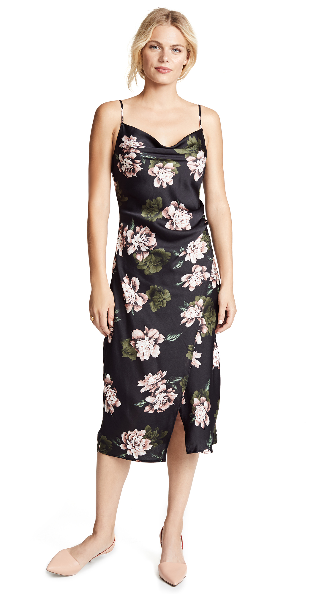 RE:NAMED Re: Named Floral Slip Dress in Black Multi