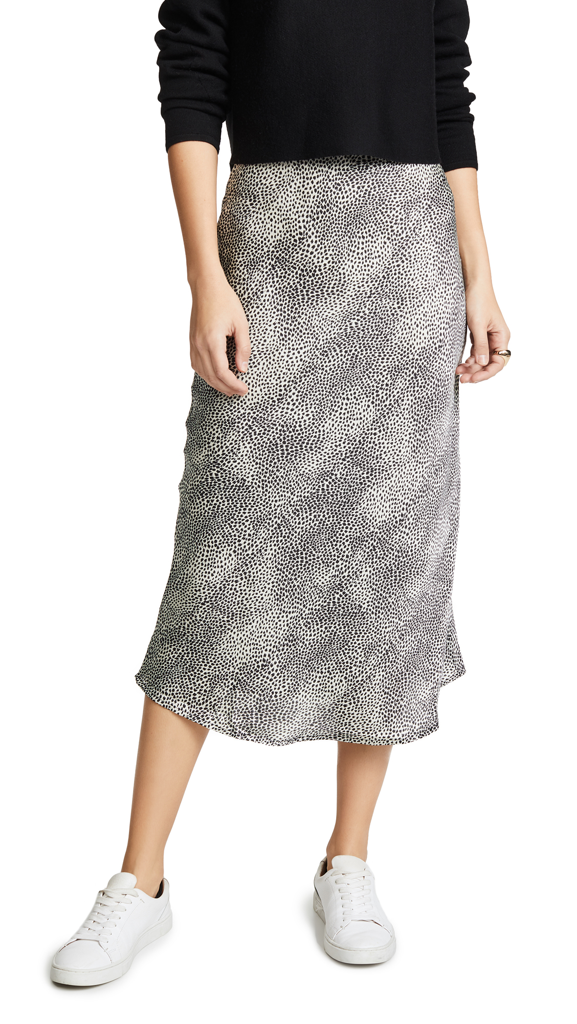 RE:NAMED Re: Named Leopard Midi Skirt in White/Black