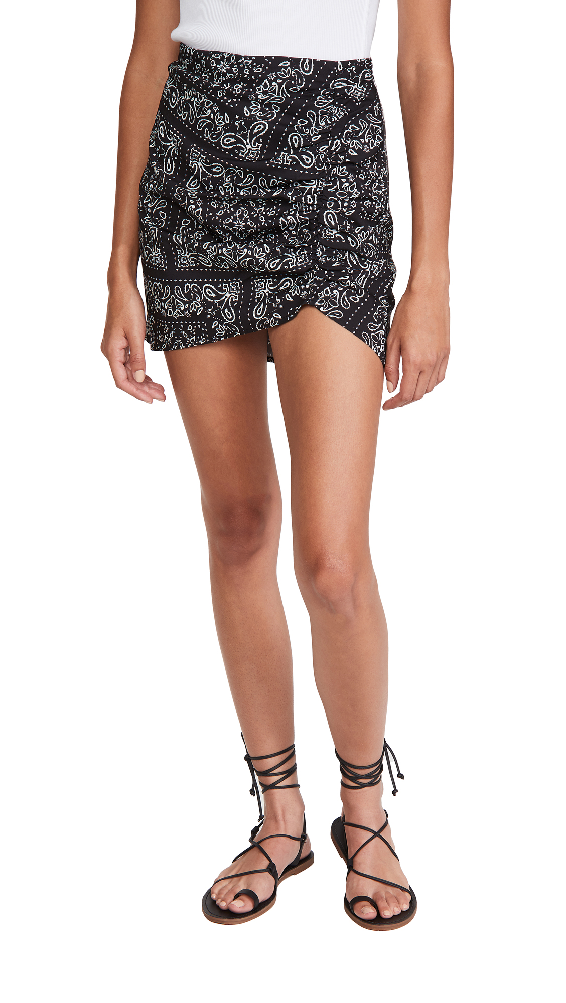 Re:named Re: Named Bandanna Ruched Miniskirt In Black/white