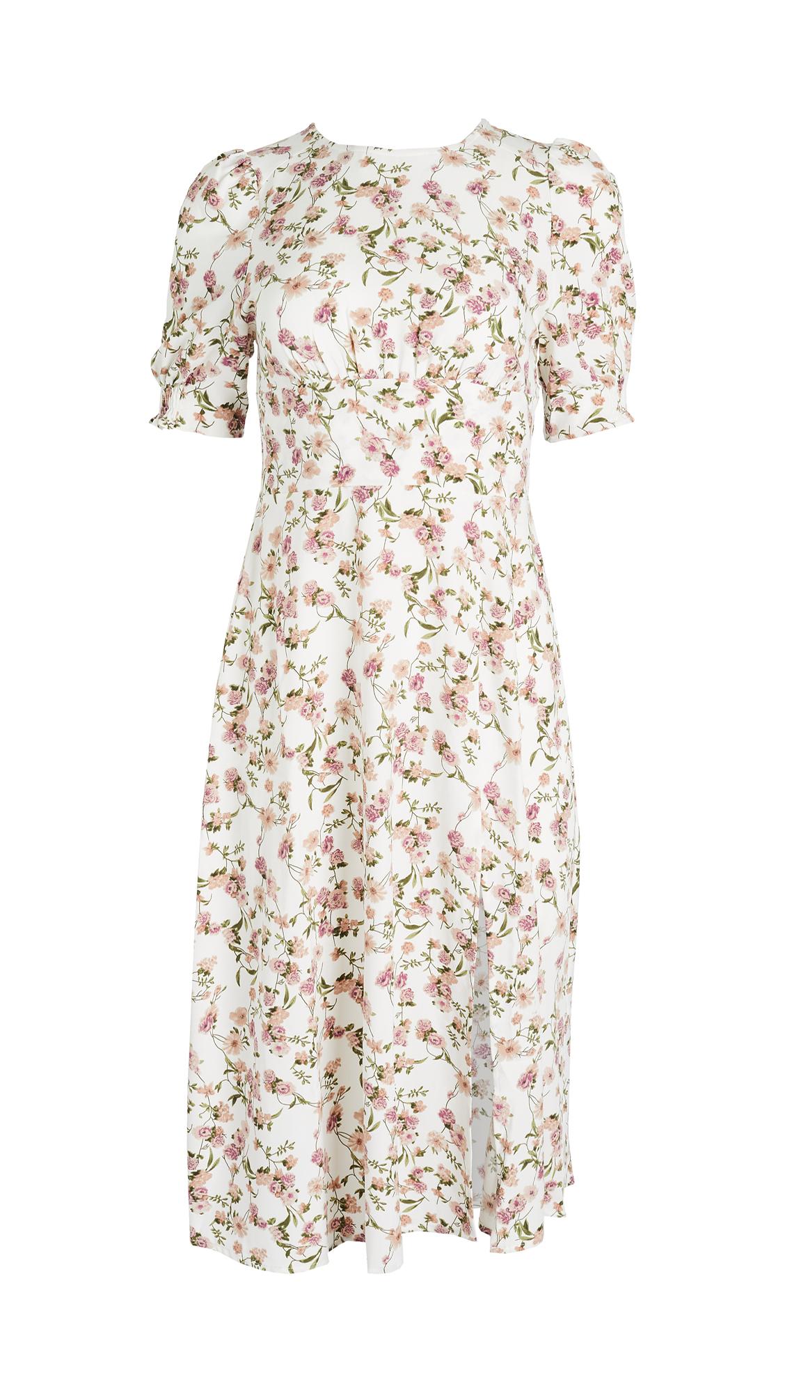 Re:named Re: Named Allete Floral Midi Dress In Ivory Multi