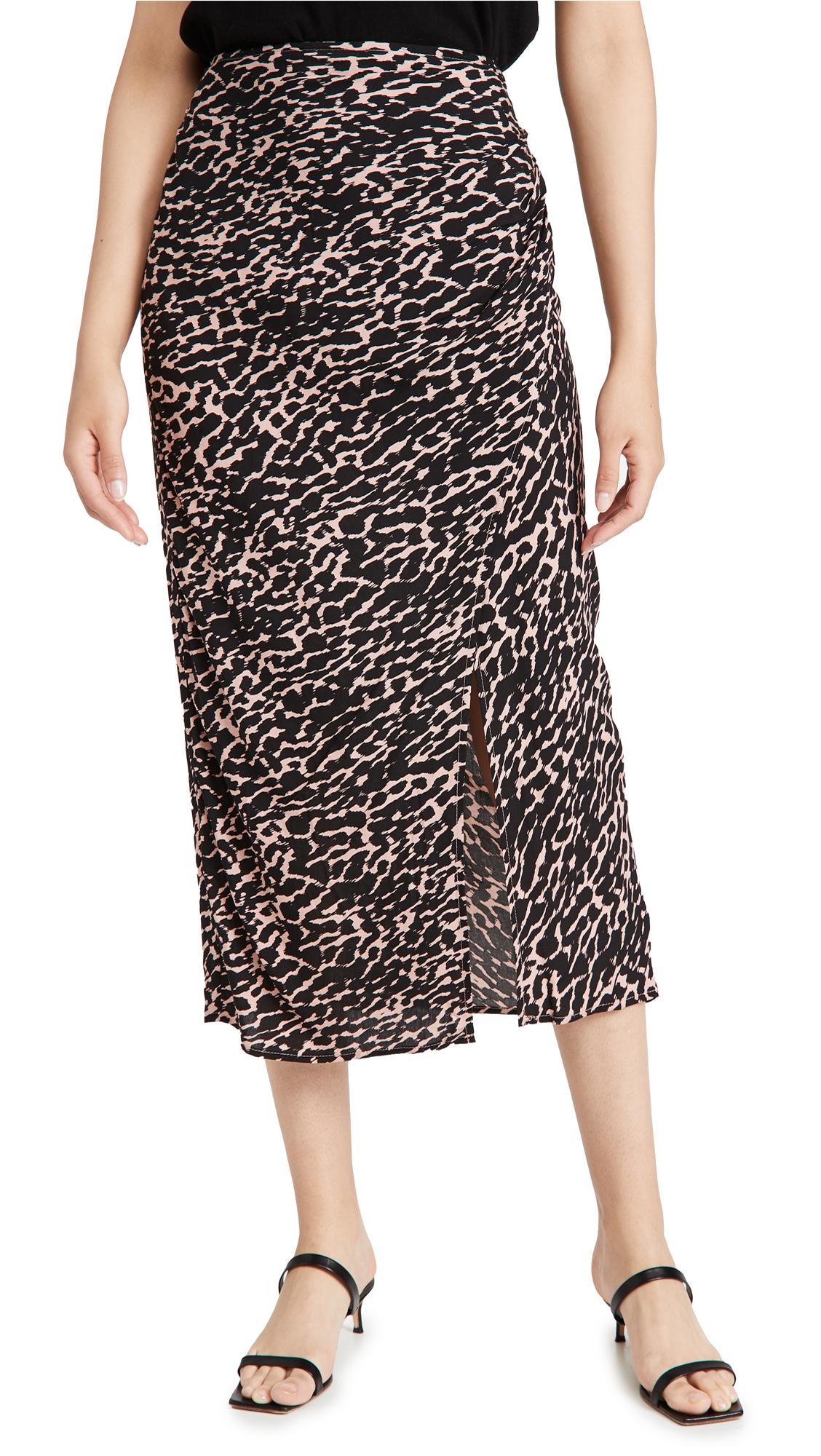 Re:named Re: Named Mica Animal Wrap Skirt In Rose/black