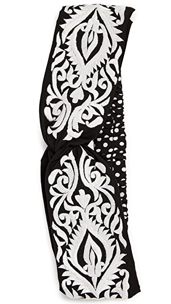 Namrata Joshipura Embroidered Turban Headband In Black/White