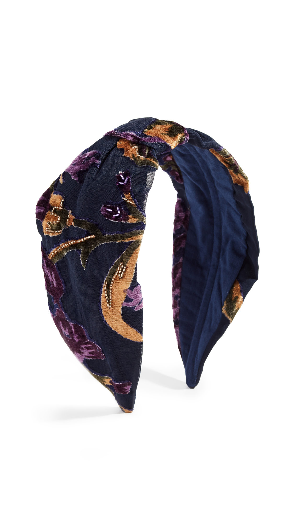 NAMJOSH Floral Burnout Headband in Navy Burnout
