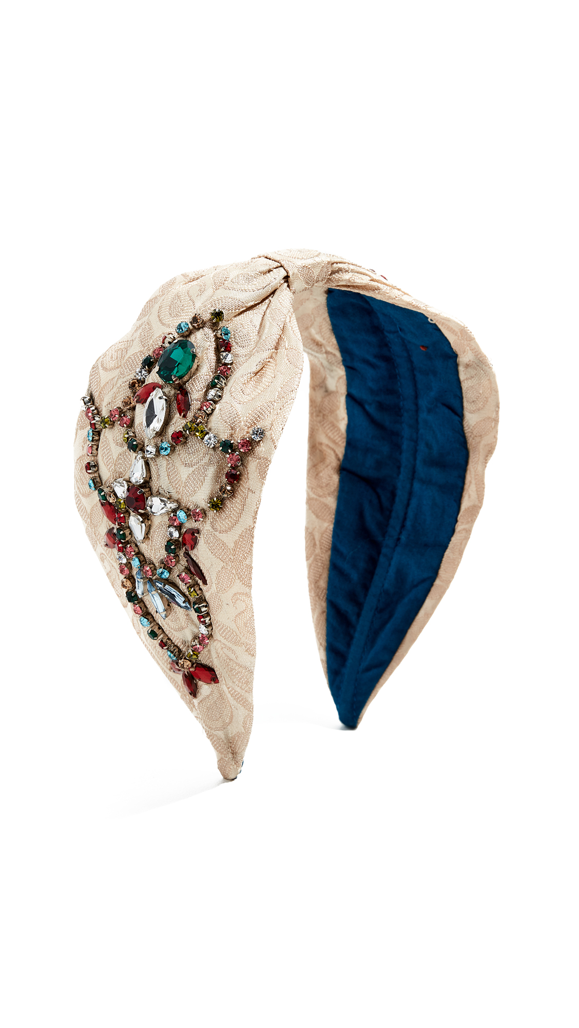 NAMJOSH Jewel Tone Embellished Headband in Off White