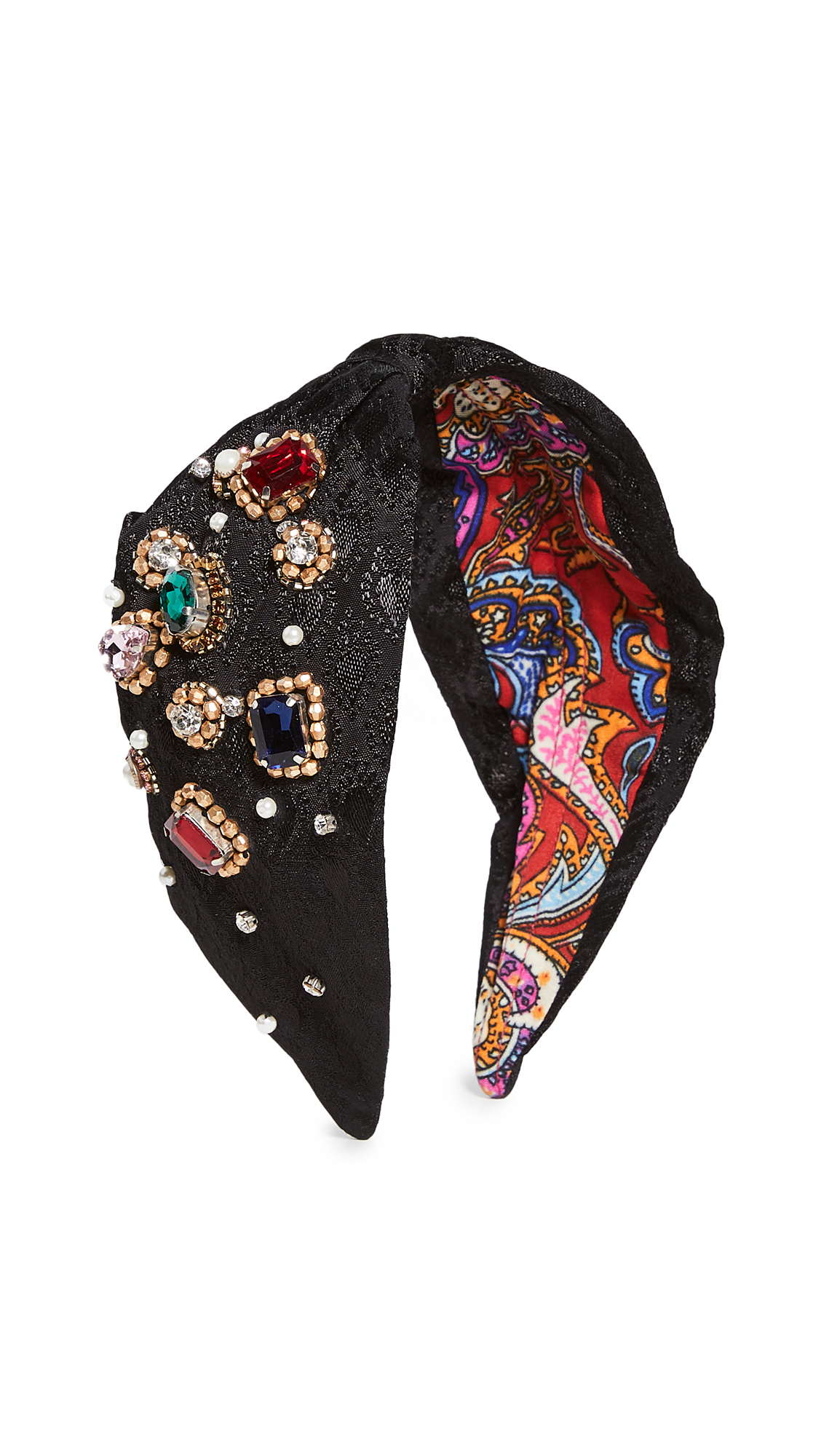 Namjosh Solid Jeweled Headband In Black
