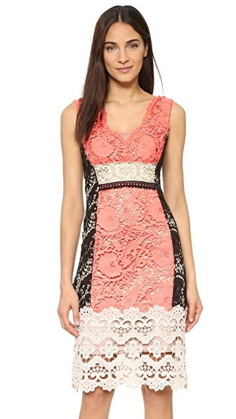 Nanette Lepore Daquiri Lace Dress - Tangerine Multi