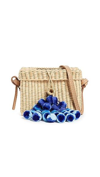 Nannacay Small Roge Pom Pom Bag In Off White/Blue