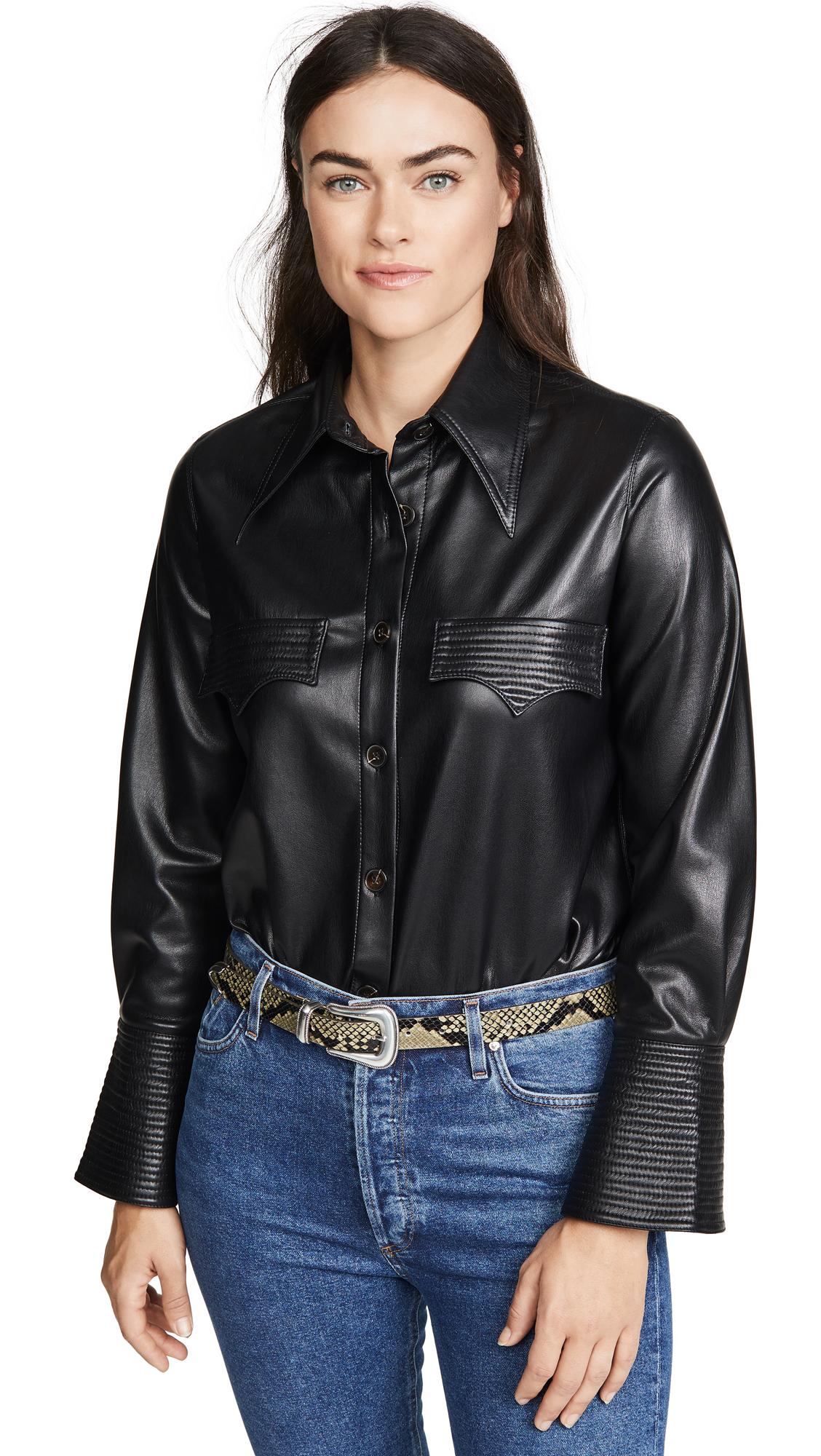 Buy Nanushka online - photo of Nanushka Elpi Faux Leather Top
