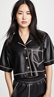 Nanushka Rhett Cropped Faux Leather Top