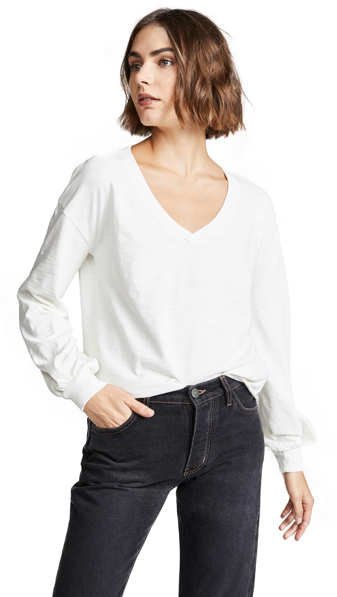 NATION LTD Willa Bishop Sleeve Pullover in Off White