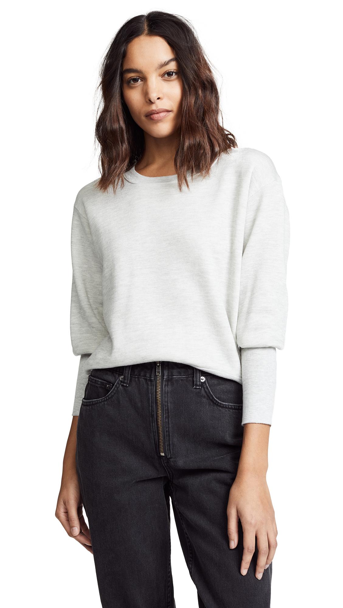 NATION LTD Coco Cuffed Sweatshirt in Light Heather Grey