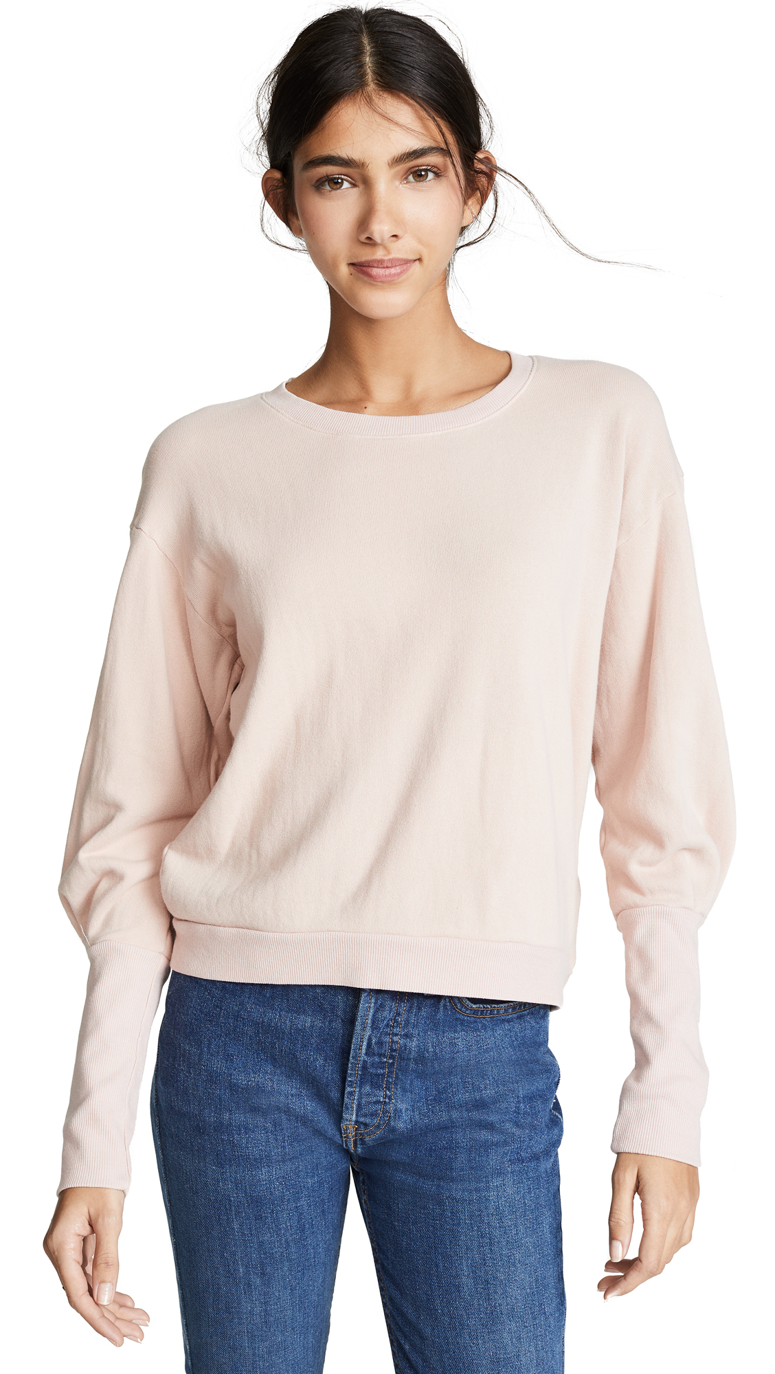 NATION LTD Coco Cuffed Sweatshirt in Pink Rose