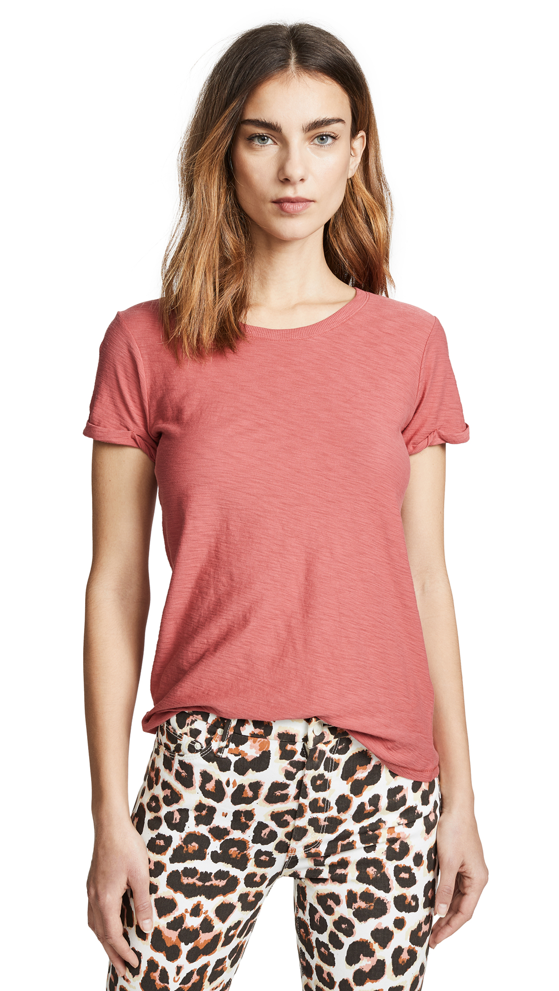 NATION LTD Colette Classic Rolled Crew Tee in Framboise