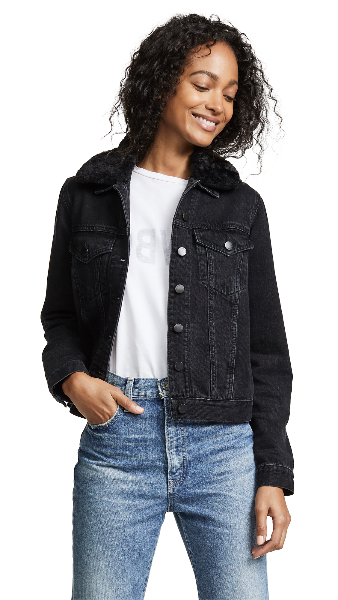 Nobody Denim Fleur Jacket with Removable Collar In Plush